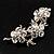 Swarovski Crystal Floral Brooch (Silver Tone) - view 3