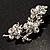 Swarovski Crystal Floral Brooch (Silver Tone) - view 7