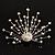 Dazzling Diamante Peacock Brooch (Silver Tone)