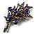 Antique Silver Purple Crystal Flower Bouquet Brooch