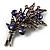 Antique Silver Purple Crystal Flower Bouquet Brooch