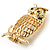 Gold-Tone Wise Filigree Owl Brooch - view 8