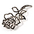 Luxurious Large Swarovski Crystal Rose Brooch (Silver&Black) - view 2