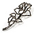 Luxurious Large Swarovski Crystal Rose Brooch (Silver&Black) - view 3