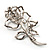 Luxurious Large Swarovski Crystal Rose Brooch (Silver&Black) - view 5