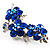 Swarovski Crystal Floral Brooch (Silver Tone & Sapphire Coloured) - view 2