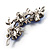 Swarovski Crystal Floral Brooch (Silver Tone & Sapphire Coloured) - view 3