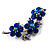 Swarovski Crystal Floral Brooch (Silver Tone & Sapphire Coloured) - view 4