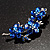 Swarovski Crystal Floral Brooch (Silver Tone & Sapphire Coloured) - view 5