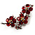 Swarovski Crystal Floral Brooch (Silver& Bright Red) - view 3