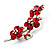 Swarovski Crystal Floral Brooch (Silver& Bright Red) - view 4