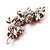 Swarovski Crystal Floral Brooch (Silver& Bright Red) - view 5