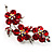 Swarovski Crystal Floral Brooch (Silver& Bright Red)