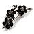 Swarovski Crystal Floral Brooch (Silver&Jet Black) - view 2