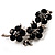 Swarovski Crystal Floral Brooch (Silver&Jet Black)