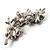 Swarovski Crystal Floral Brooch (Silver&Jet Black) - view 3