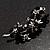 Swarovski Crystal Floral Brooch (Silver&Jet Black) - view 4