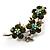 Swarovski Crystal Floral Brooch (Silver&Olive Green) - view 2