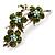 Swarovski Crystal Floral Brooch (Silver&Olive Green) - view 4