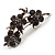 Swarovski Crystal Floral Brooch (Silver&Dim Grey) - view 3