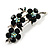 Swarovski Crystal Floral Brooch (Silver&Emerald Green) - view 4