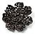 Iridescent Black Crystal Corsage Flower Brooch (Black Tone) - view 3