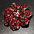 Hot Red Crystal Corsage Flower Brooch (Silver Tone) - view 4