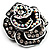 Romantic Vintage Dimensional Crystal Rose Brooch (Black&White) - view 3