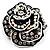 Romantic Vintage Dimensional Crystal Rose Brooch (Black&White) - view 5