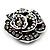 Romantic Vintage Dimensional Crystal Rose Brooch (Black&White) - view 7