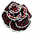 Romantic Vintage Dimensional Crystal Rose Brooch (Black&Red)