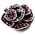 Romantic Vintage Dimensional Crystal Rose Brooch (Black&Pink) - view 8