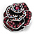 Romantic Vintage Dimensional Crystal Rose Brooch (Black&Pink) - view 3