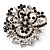 Black & White Diamante Corsage Brooch (Silver Tone) - view 1