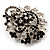 Black & White Diamante Corsage Brooch (Silver Tone) - view 3