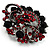 Red & Jet-Black Diamante Corsage Brooch (Black Tone) - view 2