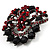 Red & Jet-Black Diamante Corsage Brooch (Black Tone) - view 3