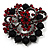 Red & Jet-Black Diamante Corsage Brooch (Black Tone) - view 1