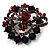 Red & Jet-Black Diamante Corsage Brooch (Black Tone) - view 6
