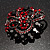 Red & Jet-Black Diamante Corsage Brooch (Black Tone) - view 7