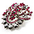 Jet-Black & Magenta Diamante Corsage Brooch (Silver Tone) - view 2