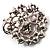 Jet-Black & Magenta Diamante Corsage Brooch (Silver Tone) - view 4