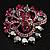 Jet-Black & Magenta Diamante Corsage Brooch (Silver Tone) - view 5