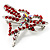 Bright Red Crystal Butterfly And Heart Brooch (Silver Tone) - view 3