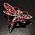 Bright Red Crystal Butterfly And Heart Brooch (Silver Tone) - view 2