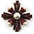 Precious Heirloom Imitation Pearl Cross Brooch (Copper Tone) - view 9