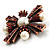 Precious Heirloom Imitation Pearl Cross Brooch (Copper Tone) - view 3