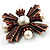Precious Heirloom Imitation Pearl Cross Brooch (Copper Tone) - view 4