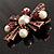 Precious Heirloom Imitation Pearl Cross Brooch (Copper Tone) - view 8