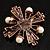 Precious Heirloom Imitation Pearl Cross Brooch (Copper Tone) - view 10